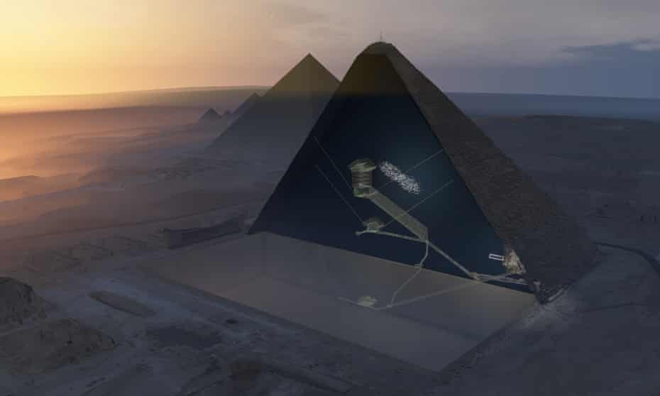 A 3D aerial view of the Great Pyramid of Giza, showing the chambers within, as well as the newly-detected cavity.