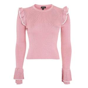 pink frill jumper Topshop