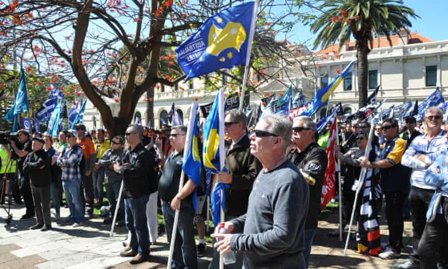 Unions including the CFMEU, UnionsWA and the Electrical Trades Union join member rally in opposition to the free trade deal with China, saying it will be bad for local jobs and exploit foreign workers.