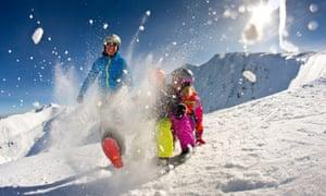 Family skiing in Jasna, Slovakia