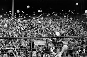 Leicester City fans applaud their team in 1982.