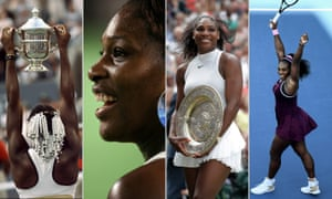 Serena Williams won her first grand slam title in 1997; celebrates victory in the 2007 Australian Open; with the Wimbledon trophy in 2016 and enjoying the winning moment in Auckland on Sunday.