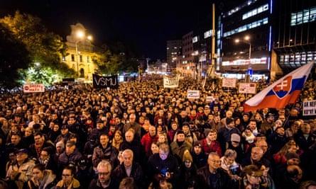 Protests in Bratislava's central square on 16 November