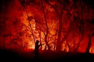 A fire and rescue officer fights a bushfire encroaching on properties near Kioloa.