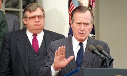 President George HW Bush speaks at the White House in 1992, the year he is alleged to have groped a Michigan woman.
