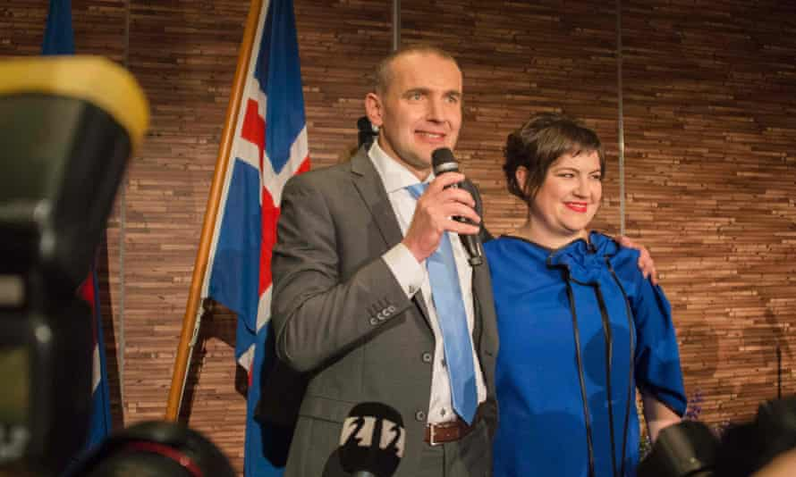 Gudni Johannesson with his wife, Eliza Reid, at an election party in Reykjavik, on Saturday.