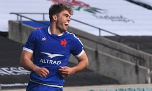 France's Damian Penaud celebrates scoring their second try.