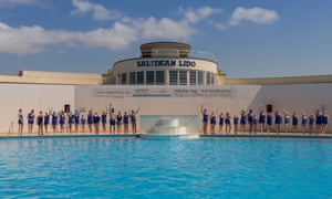 Travel Photograph taken during the opening at Saltdean Lido in Brighton. Photographs taken during the synchronised swimming. Photograph: Alecsandra Raluca Dragoi for the Guardian