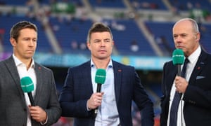 Brian O'Driscoll, pictured (centre) at the 2019 Rugby World Cup, was rebuked in 2004 by Clive Woodward (right) after deriding Twickenham's 'prawn sandwich brigade'.