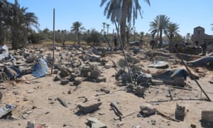 The scene in Sabratha after the airstrikes.