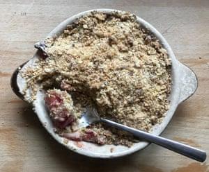 Jane Baxter's rhubarb crumble.