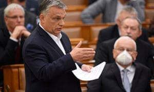 Viktor Orbán addresses Hungary's parliament about the coronavirus outbreak on 23 March