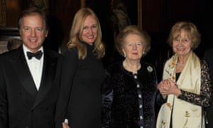Sasha Swire, second left, with her husband, Hugo, Margaret Thatcher and Lady Miloska Nott at a dinner in Chelsea in 2010.