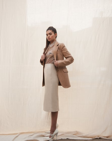 Leather blazer, £1,350, shirt, £885, skirt, £2,700, and shoes, £605, all by Miu Miu