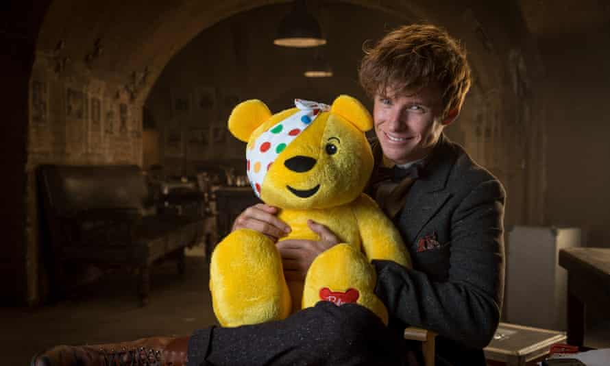 Eddie Redmayne with Children in Need mascot, Pudsey Bear. This year, the charity could face a downturn in donations due to coronavirus.