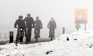 Mountain bikers near Buxton in Derbyshire