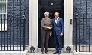 Theresa May and Donald Tusk, president of the European Council, in Downing Street on 26 September 2017.