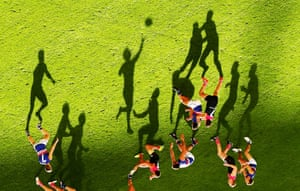 This image, which was rotated 180 degrees by the photographer, captures an alternative perspective on the AFL. The long shadows are cast across the turf as Mitch Wallis of the Bulldogs passes the ball in a game against the Melbourne Demons. The Bulldogs would go on to win the Premiership.