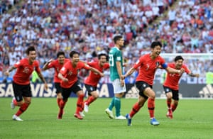 Son Heung-Min of Korea Republic celebrates after scoring his side's second goal.
