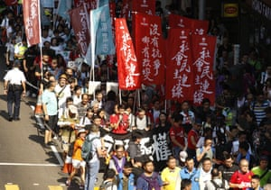 Thousands of people take to the streets in Hong Kong.