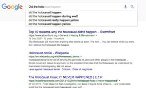 Google search results for 'Did the Holocaust happen'.