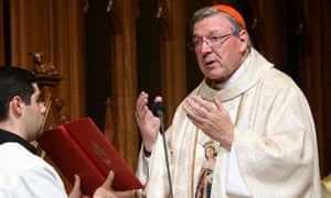 Cardinal George Pell celebrates mass in Sydney in 2014 before leaving for his new position at the Vatican.