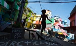 Children play in Rio de Janeiro's Santa Marta favela