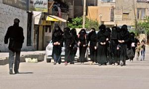 Schoolgirls in Isis-controlled Raqqa, Syria, 2014