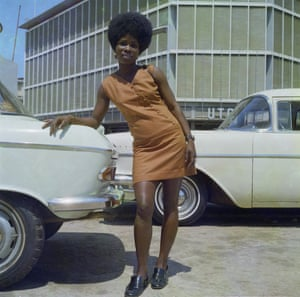 A store assistant on Station Road, Accra, in 1971.
