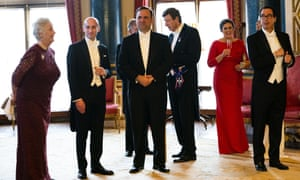 Here's Stephen Miller, second from left, at a reception at 'Buck House' before the Queen's banquet in London earlier this month. WH director of social media, Dan Scavino, is to his left, also now-ex press sec Sarah Sanders and very-much-current Treasury sec Steve Mnuchin.