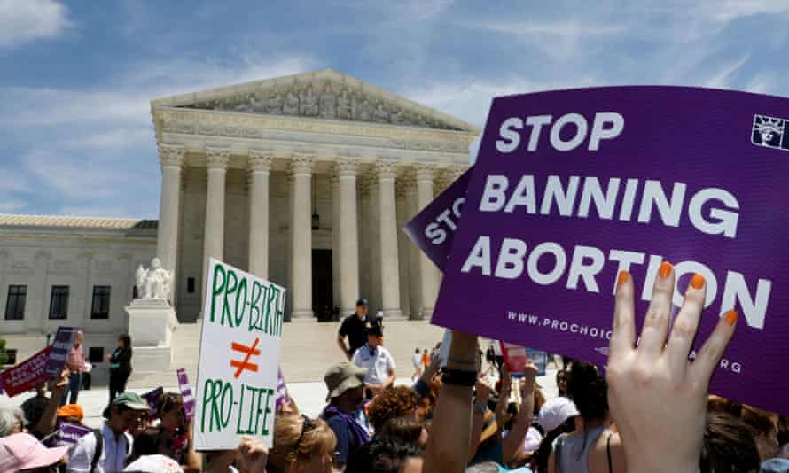 Abortion rights activists rally outside the US supreme court in Washington in 2019.