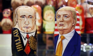 Russian nesting dolls of Putin and Trump on sale in Moscow.