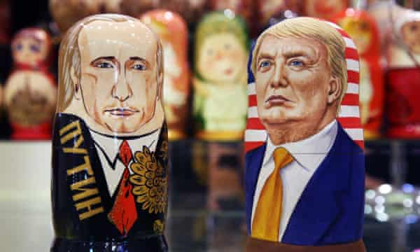 Russian dolls in the likeness of Russia's President Vladimir Putin and the US president-elect, Donald Trump.