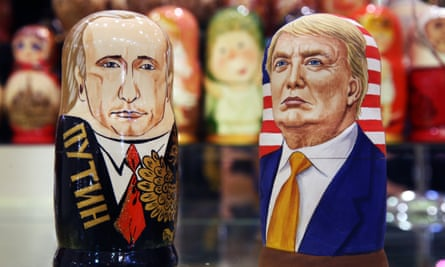 Russian Dolls of Vladimir Putin and Donald Trump in a souvenir shop.