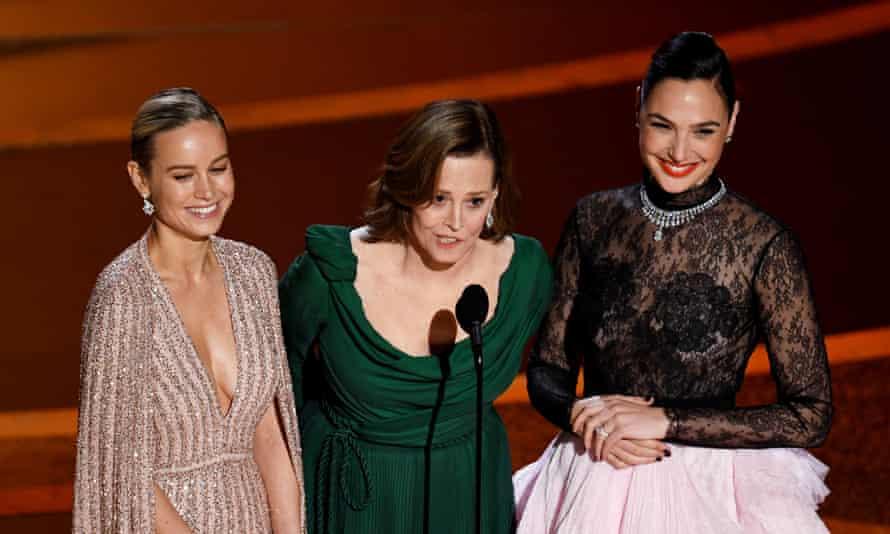 Brie Larson, Sigourney Weaver, and Gal Gadot.