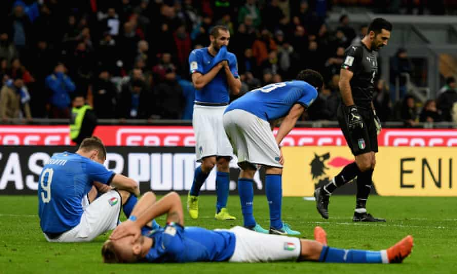 Italy players after they lost to Sweden and missed out on the 2018 World Cup