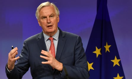 Michel Barnier at a Brussels press conference.