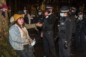 Police speak to protesters