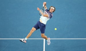 Alexander Zverev plays an overhead shot during his victory over Marco Cecchinato.