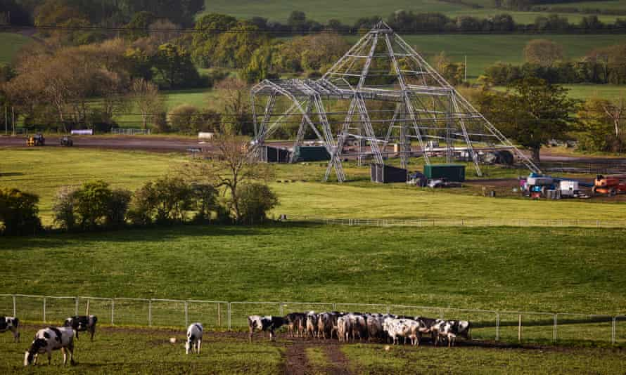 The empty Pyramid stage at Worthy Farm, which has not hosted the Glastonbury festival for two years due to Covid 19.