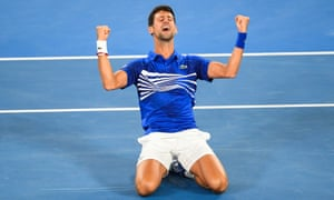 Novak Djokovic celebrates winning the match 6-3, 6-2, 6-3.