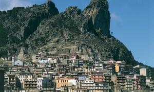Houses on a mountain in Ulassai, Ogliastra, Sardinia