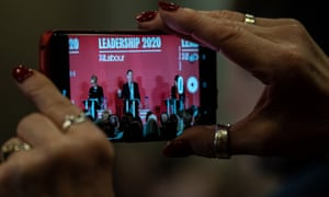 The Labour leadership Hustings at the Grand Hotel in Brighton on 29 Feb 2020. The remaining candidates, Keir Starmer, Rebecca Long-Bailey and Lisa Nandy, are filmed by an audience member.