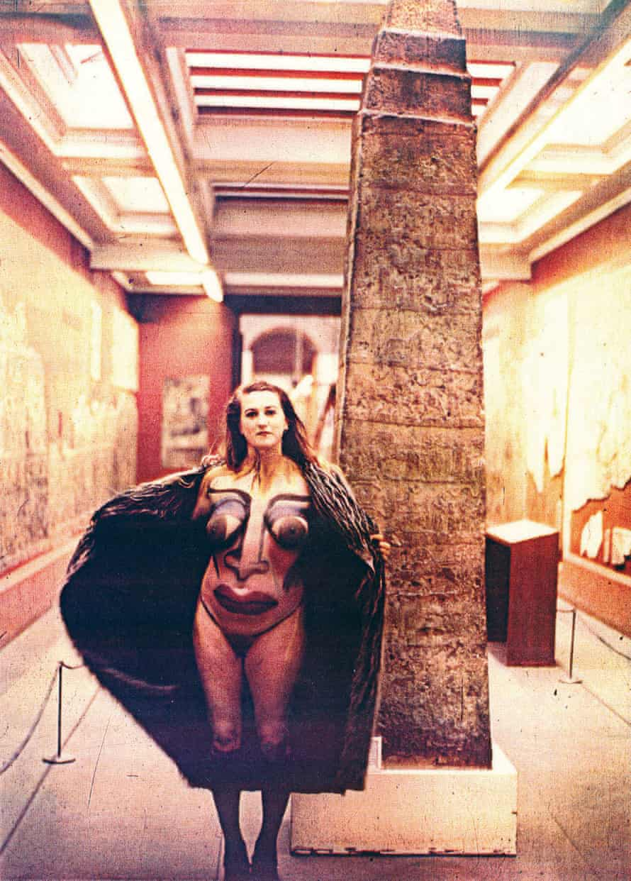 Flashing in the British Museum, London, 1982 – Christine Binnie body-painted and photographed by Wilma Johnson.