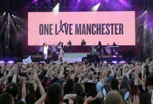 Ariana Grande (left) and Miley Cyrus (right) performing during the One Love Manchester benefit concert for the victims of the Manchester Arena terror attack at Emirates Old Trafford
