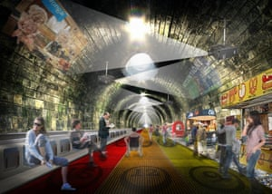 """<strong>Circle Line Travelator </strong>London-based architecture firm <a href=""""http://nbbj.com"""">NBBJ</a> have unveiled plans to transform 17 miles of the Underground's Circle Line into a three lane, multi-speed travelator. The trains, which currently carry 114 million people per year, would be replaced with moving walkways, beginning with a slow lane of 3mph, and moving up to 15mph in the fast lane. The concept, they say, could become 'one of London's most efficient and unusual modes of transport'"""