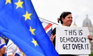 BRITAIN-EU-POLITICS-BREXIT<br>A pro-EU demonstrator holds a placard  during an anti-Brexit protest outside the Houses of Parliament in London on June 13, 2018.  / AFP PHOTO / Ben STANSALLBEN STANSALL/AFP/Getty Images
