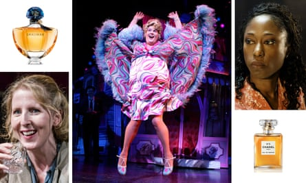 Clockwise from left: Fenella Woolgar in The Slaves of Solitude; the perfume Shalimar; Michael Ball in Hairspray; essential oil fan Nikki Amuka-Bird; Chanel No 5