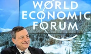 Mario Draghi pictured at a panel discussion session at Davos.