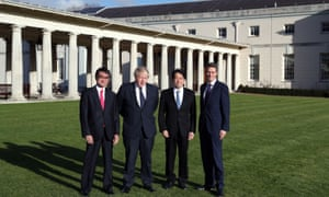 Foreign secretary Boris Johnson (2nd left) and defence secretary Gavin Williamson (right) alongside their Japanese counterparts defense minister Itsunori Onodera (2nd right) and foreign minister Taro Kono at the National Maritime Museum in London, where they were holding talks.